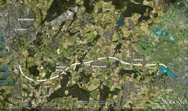 Aftakking spoorlijn naar Heinsberg, ten zuiden van Roermond