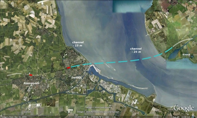Tunnel under the Ems / Eems estuary, rail line Groningen - Emden