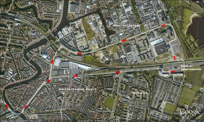 Tram-tracés in Haarlem tussen binnenstad en Station Spaarnwoude
