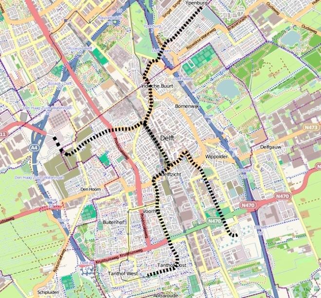 Eigen tramnet in Delft, deels op bestaande tramlijnen.