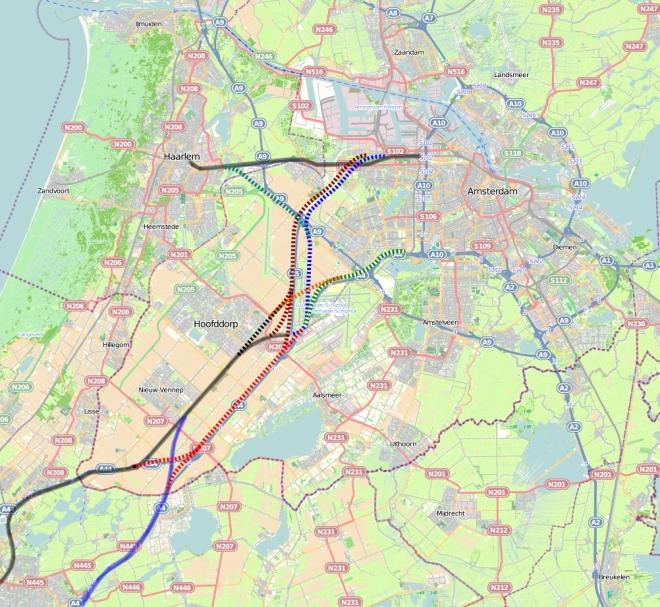 Bypass spoorlijn naar Leiden en HSL, langs Schiphol.