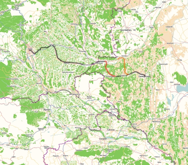Inter-regional rail line Graz - Zalaegerszeg via Szentgotthárd.